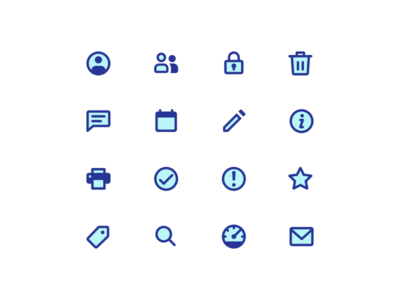 Simple two-tone icons