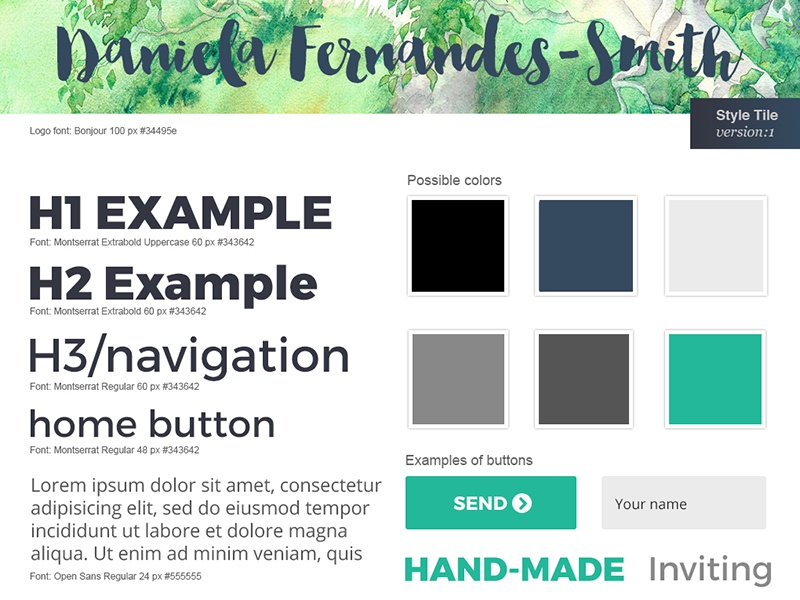 Style Tile for my website redesign navy-blue teal site-design ui-design website design graphic-design style-tile