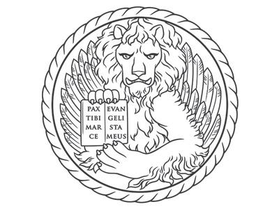St. Mark's Lion for Sosta Cucina Venetian Cuisine eatery high-end digital illustration illustration vector branding drawing logo