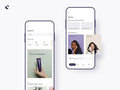Curology Home + Explore Page product design ux ui app design app cards search explore home information architecture navigation carousel
