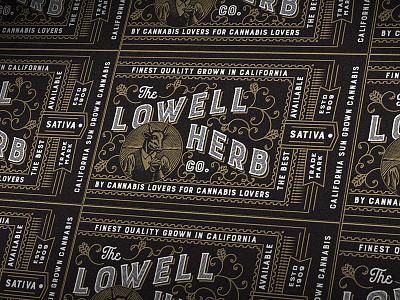 Lowell Sticker weed cannabis designer cannabis packaging cannabis design graphic designer orange county graphic designer engraving art director art director orange county typography jamie stark