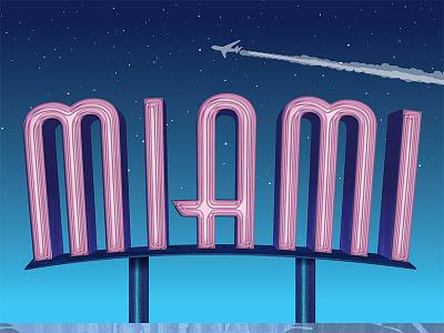 Miami miami neon illustrative type art director orange county jamie stark