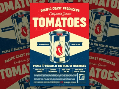 Tomato Ad limited color palatte 2 color tomato tomatoes canned foods advertising poster silkscreen art director orange county graphic designer art director orange county jamie stark