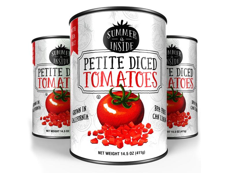 Tomato Cans cans canned goods tomatoes packaging designer package designer label designer art director vector illustration orange county graphic designer art director orange county graphic designer jamie stark