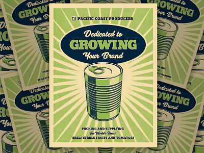 PCP Poster Post packagingdesign packagedesign canned foods vintage farm poster design silkscreen art director orange county graphic designer jamie stark