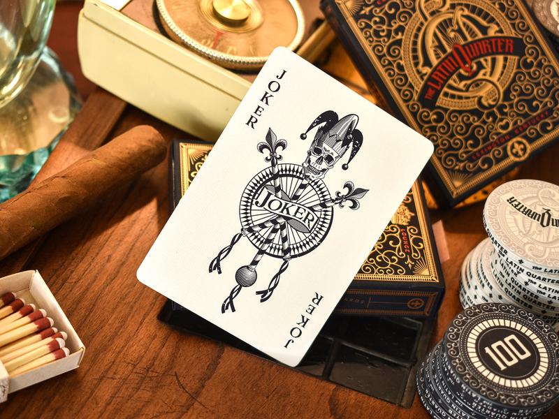 The Latin Quarter Playing Card's Joker etching print playing card designer art director orange county graphic designer jamie stark