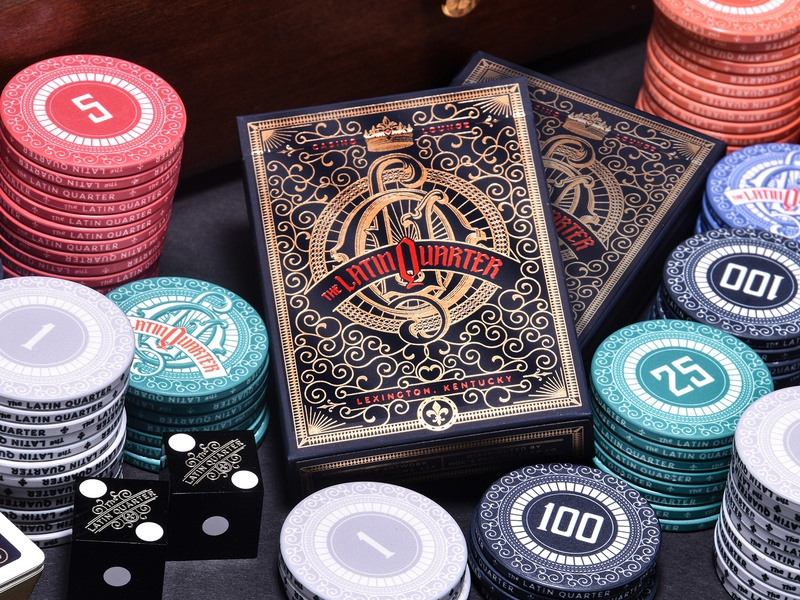 Latin Quarter Casino Gaming Collection poker chips playing cards art director typography orange county graphic designer art director orange county