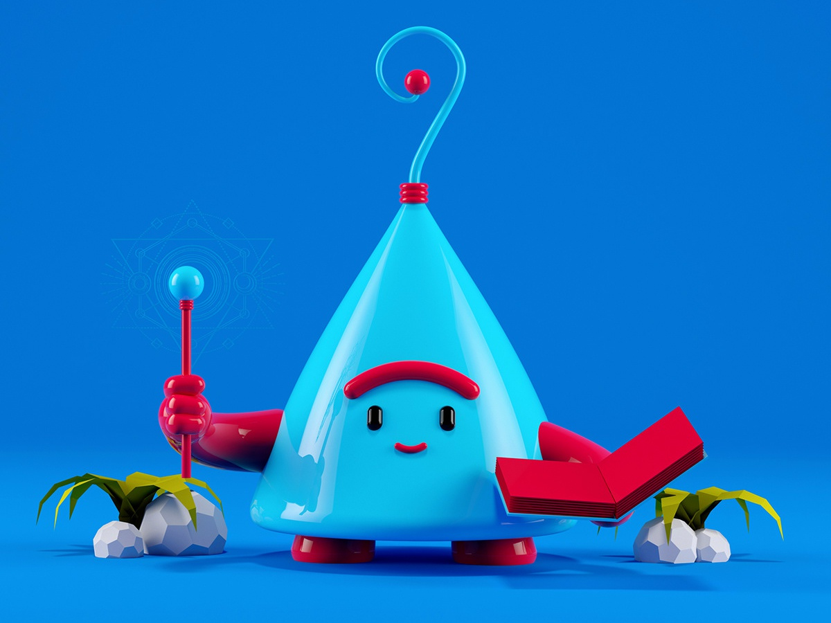 Little Monster 3 magic render alien space cinema 4d 3d artist minimal colorful simply low poly modeling illustration monster 3d art