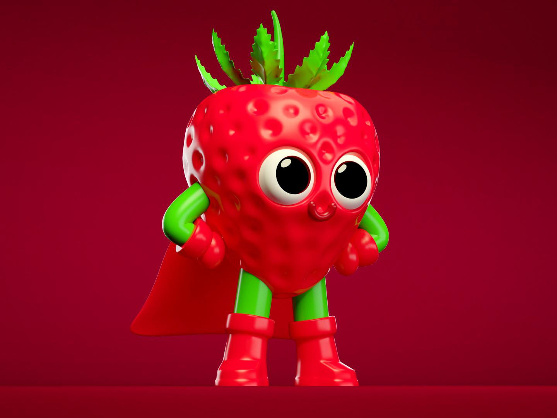Super Strawberry strawberry render branding illustration juice super hero character design minimal cinema 4d simply 3d artist modeling 3d art colorful