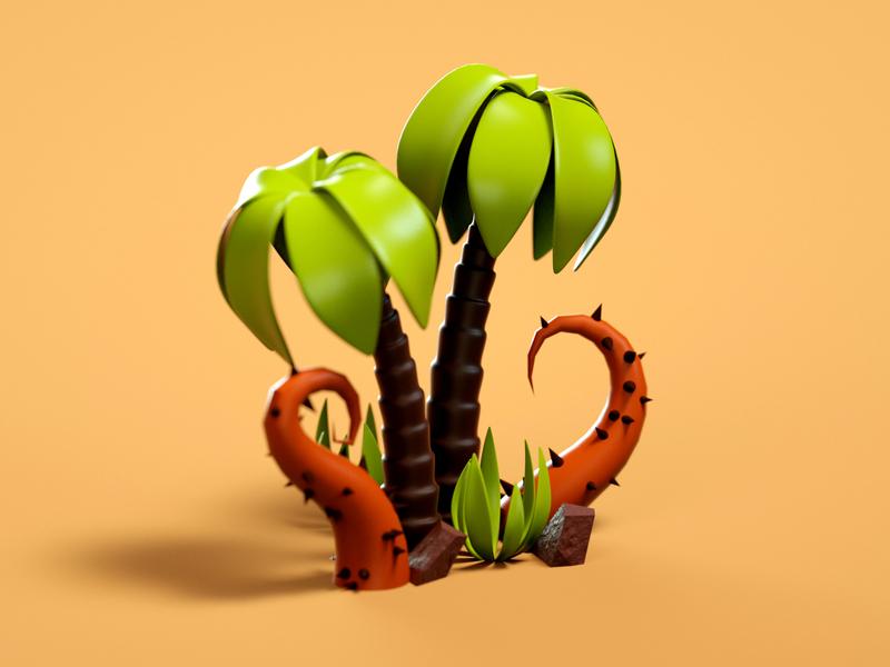 Palms desert spine palmtree palms nature design low poly minimal cinema 4d simply 3d artist modeling illustration colorful 3d art