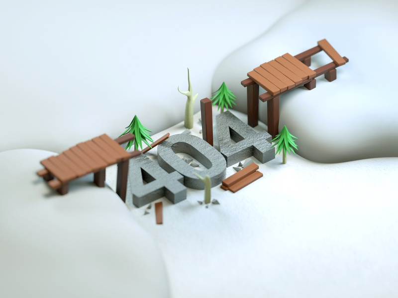 Error 404 404 error 404 error page 404 broken bridge snow interface website webdesign ux ui low poly minimal cinema 4d simply 3d artist modeling illustration colorful 3d art