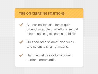 Sidebar Tease sidebar list tips hints