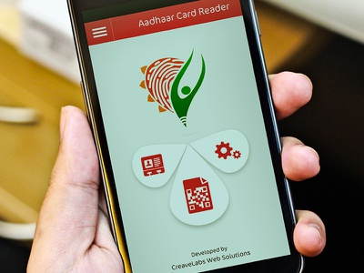 Aadhaar Card Reader - UI mobile app ui interface design layout menu navigation ux minimal android