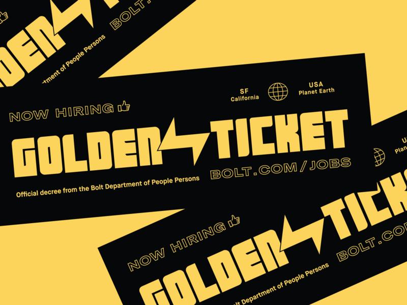 Bolt Golden Ticket swag hiring fair career recruiting job application lettering type ticket logo illustration design checkout bolt