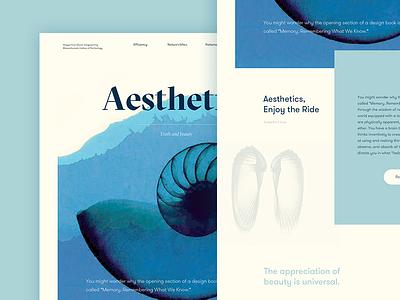 Aesthetics grilli type golden ratio seashells marine blue blog post aesthetics layout ui