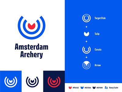 Amsterdam Archery V2 illustration flat minimal lettering icon logo illustrator design