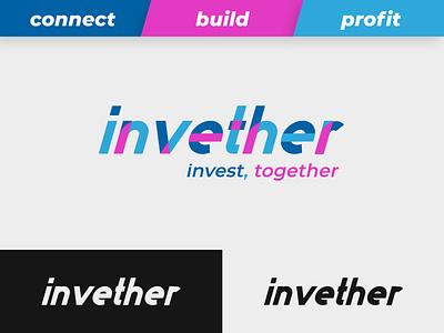 Invether - Peer2Peer Investing platform type flat lettering typography branding logo illustrator design