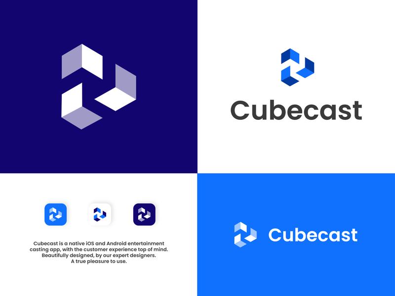 Cubecast - Casting App app icon type minimal typography branding logo illustrator design