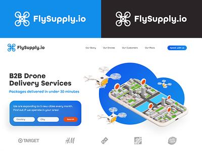 FlySupply - B2B Drone Delivery Services web ui ux typography branding logo website illustrator design