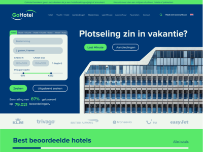 Website for imaginary travel agency called GoHotel