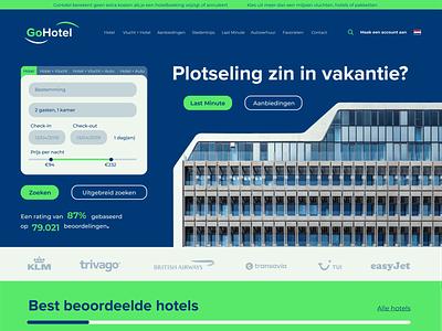 Website for imaginary travel agency called GoHotel ui flat lettering minimal vector identity typography logo illustrator branding design