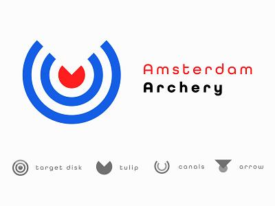 Amsterdam Archery icon type flat minimal vector identity typography logo illustrator branding design