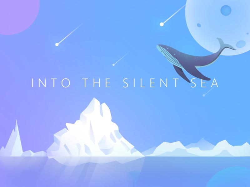 Into the Silent Sea ice silence iceberg whale sea illustration