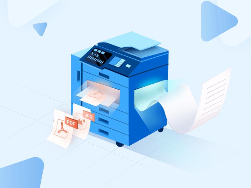 Printer equipment design 2.5d illustration