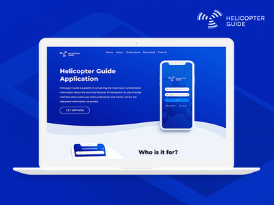 Helicopter Guide - Landing page design