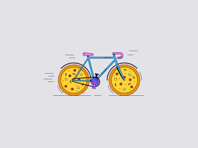 Pizza delivery biker pizzaslice slice biking ride bike ride fast delivery pizza bike illustration colors color lines illustrator design graphic vector clean