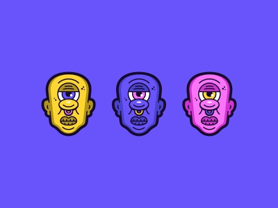 Cyclops illustration pink purple yellow bold ears nosering mouth nose eye cyclops illustration illustrator lines color colors design graphic vector clean