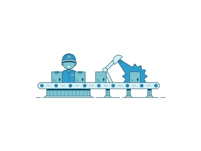 Factory illustrations pt. 1 package design customer happy blue worker work package assembly line assembly factory illustration colors color lines illustrator design graphic vector clean