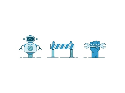 Factory illustrations pt. 2 innovation wheel tool fist hand construction robot illustration colors color lines illustrator design graphic vector clean