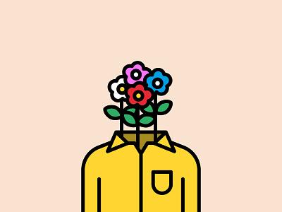 Flower Head shirt head flower illustration flowers flower colors color lines illustrator design graphic clean vector illustration