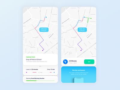 Intelligent maps IU minimal loading infographic ui  ux navigation bar alert uidesign moving uiux ui design info traffic navigation map maps
