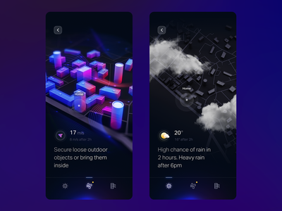Weather iOS app weather icon c4d cityscape city 3d home ui weather forecast clouds rain navigate maps navigation map weather app lidar ar art character weather