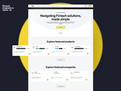 Fintech Innovation Network page layout website web typography art direction ux design ui fintech platform