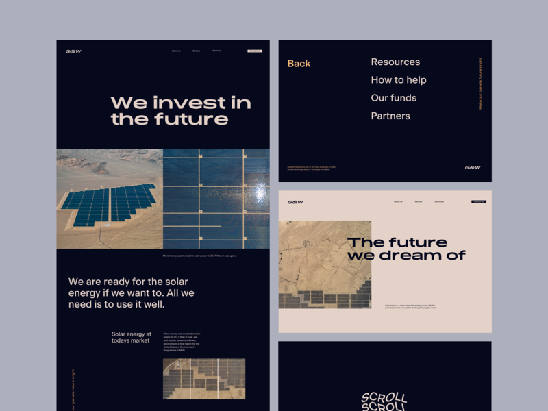 Solar Energy Investment Company website page ui art direction layout typography design web