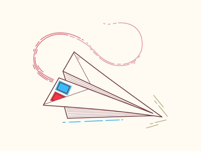 Paper plane paper origami lines vector