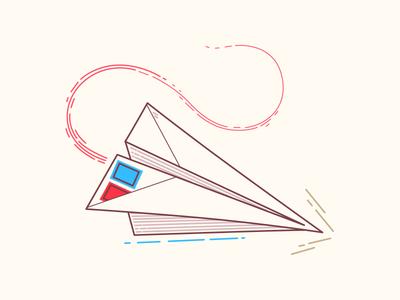 Paper plane paper origami lines vector