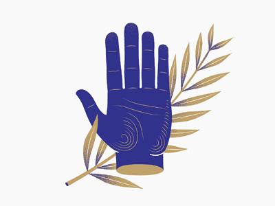 Blue Hand palm symbol hand