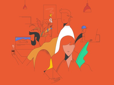 Orange office office orange characterdesign