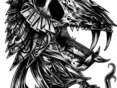 Sabre Progress pattern ornate brush ink tone print tattoo shade heavy skull illustration