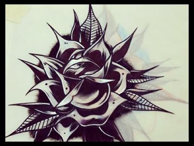 Traditional Rose floral linework blackwork ink rose design tattoo illustration art