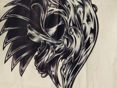 Native traditional blackwork linework skeletal skeleton skull pen brush ink artwork illustration art