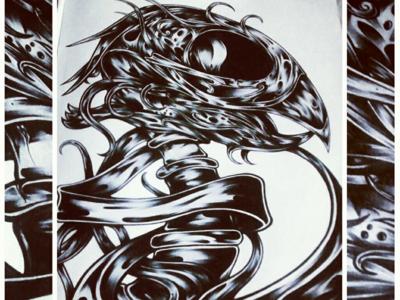 Polly blackwork linework skeleton skull bird parrot traditional design print artwork illustration art