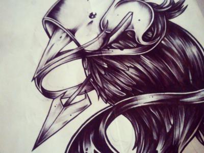 Hunted graphic artwork bird arrow brush ink pen sketch illustration art