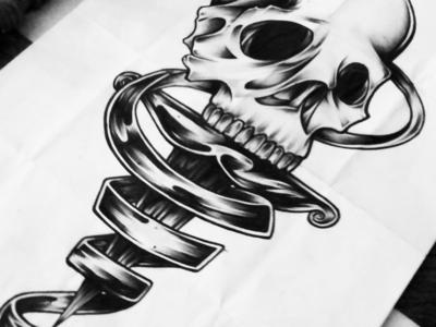 Skull & Dagger ornate ink anatomy dagger skull tattoo design traditional illustration art