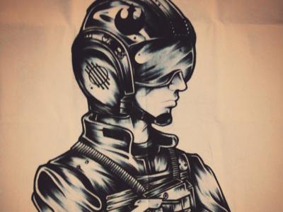 X-Wing Pilot xwing starwars traditional pen brush design ink sketch illustration art