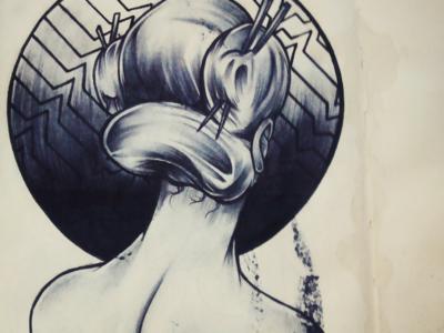 Figure Composition hair sketchbook pattern linework shading live sketch drawing model anatomy illustration art